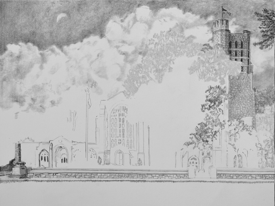 Washington Memorial Chapel Pencil drawing in progress 02 by Santoleri