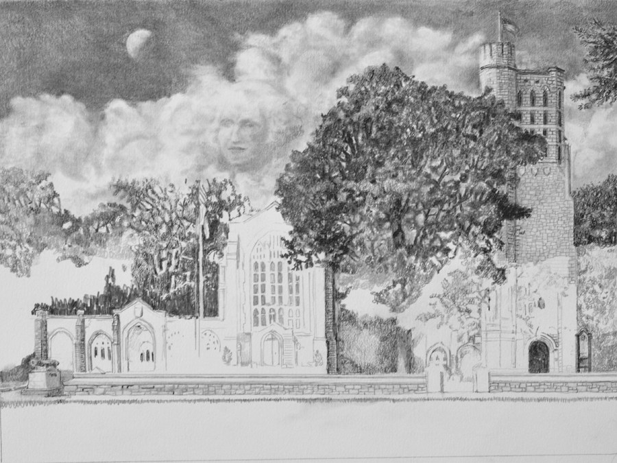 Washington Memorial Chapel Pencil drawing in progress 03 by Santoleri
