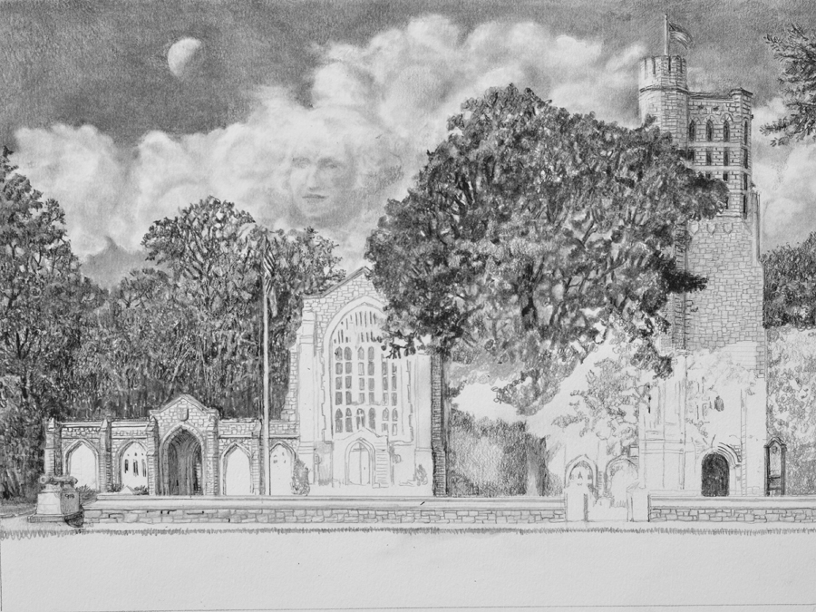Washington Memorial Chapel Pencil drawing in progress 04 by Santoleri