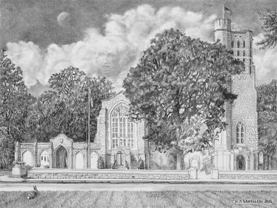 Washington Memorial Chapel Pencil drawing in progress 06 by Santoleri