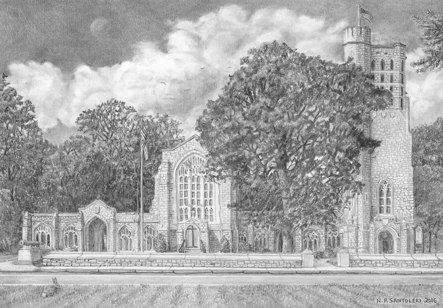 Open Edition Prints of Washington Memorial Chapel Pencil Drawing by Nick Santoleri