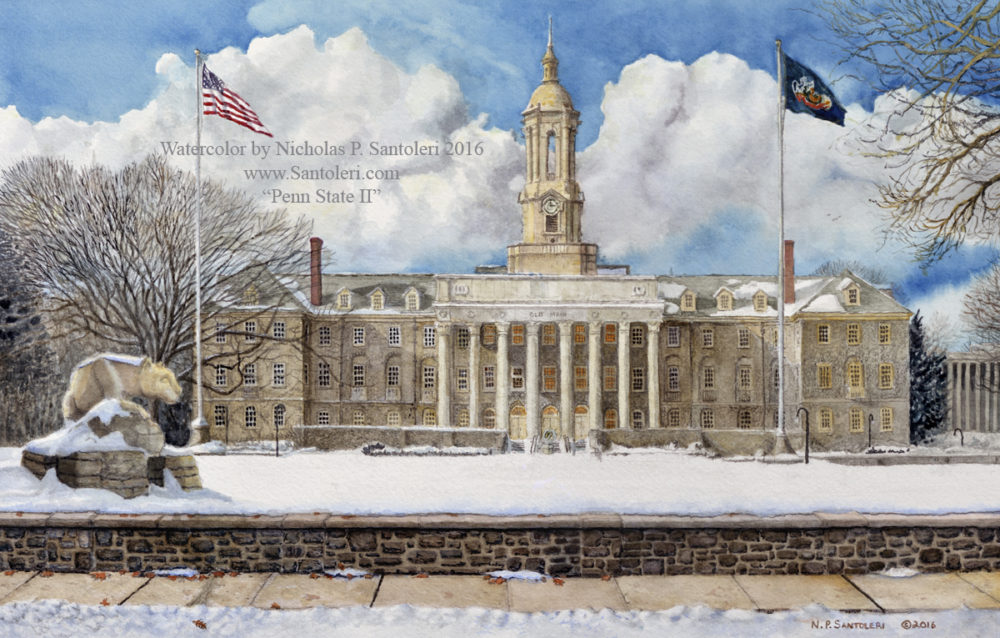 Penn State 2  - Watercolor painting by Nick Santoleri