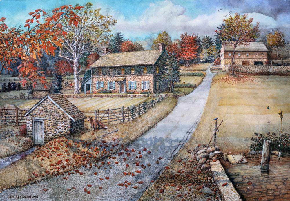 Little Brook Farm by Chester County Watercolor Artist Nick Santoleri