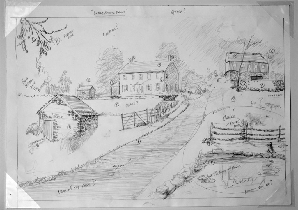 Little Brook Farm Compositional Drawing Plein air art