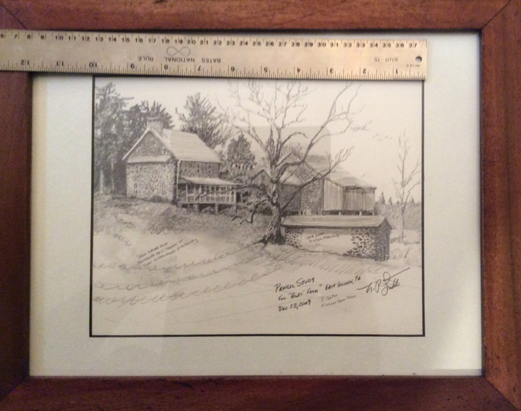 Chester County Plein air art drawing by Santoleri