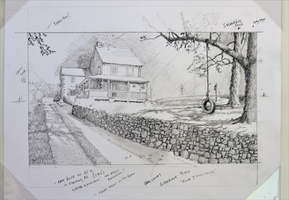 Plein air art compositional drawing by Santoleri