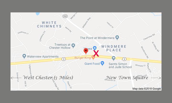 Location of Nicholas Santoleri Chester County Art Studio and Gallery