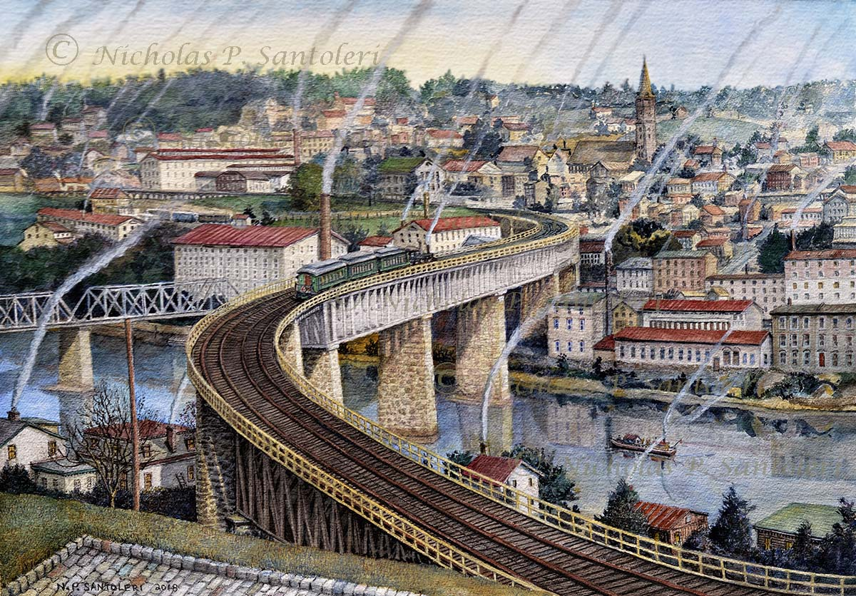 The S-Bridge to Manayunk (Circa 1918) award-winning watercolor by Nicholas P. Santoleri  ©2018