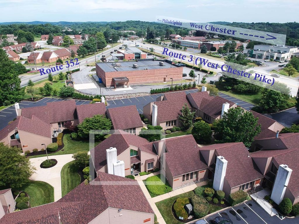 Aerial View of 1515 West Chester Pike - Chester County Art Studio