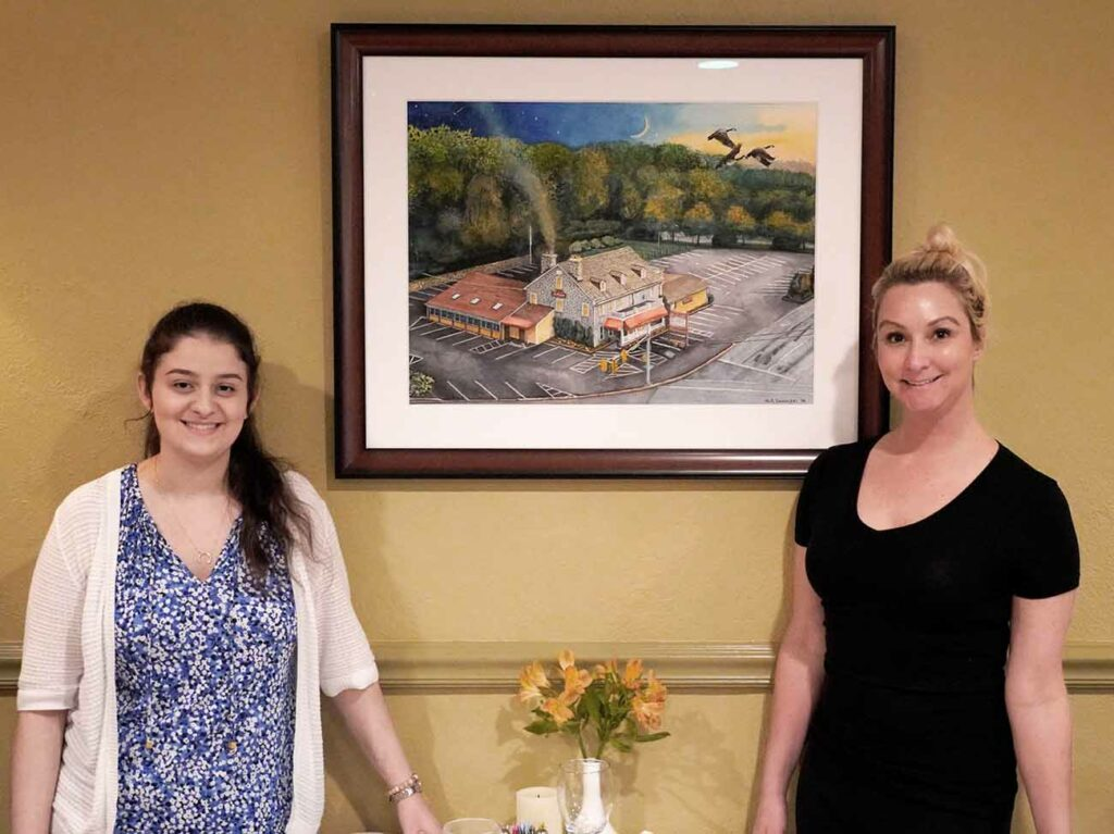 Christin and Amy by watercolor painting by Nicholas Santoleri