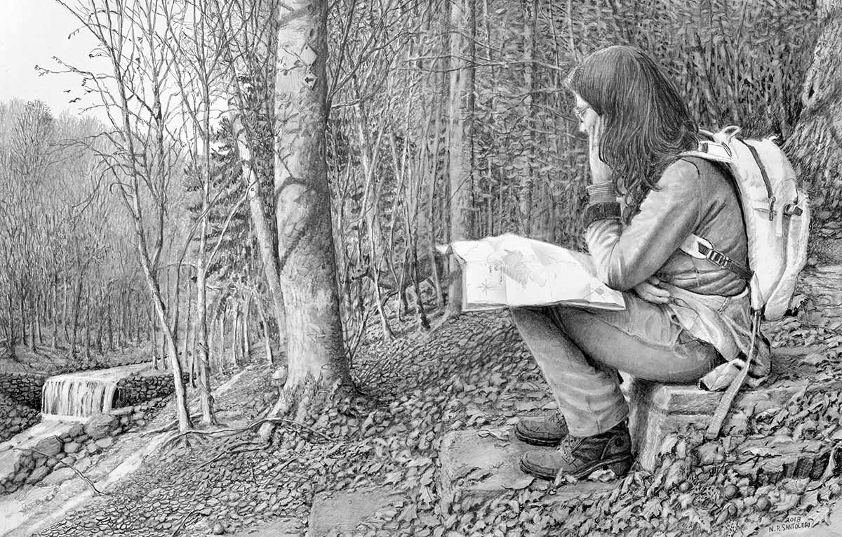 Hiking the Wissahickon Pencil Drawing by Nick Santoleri