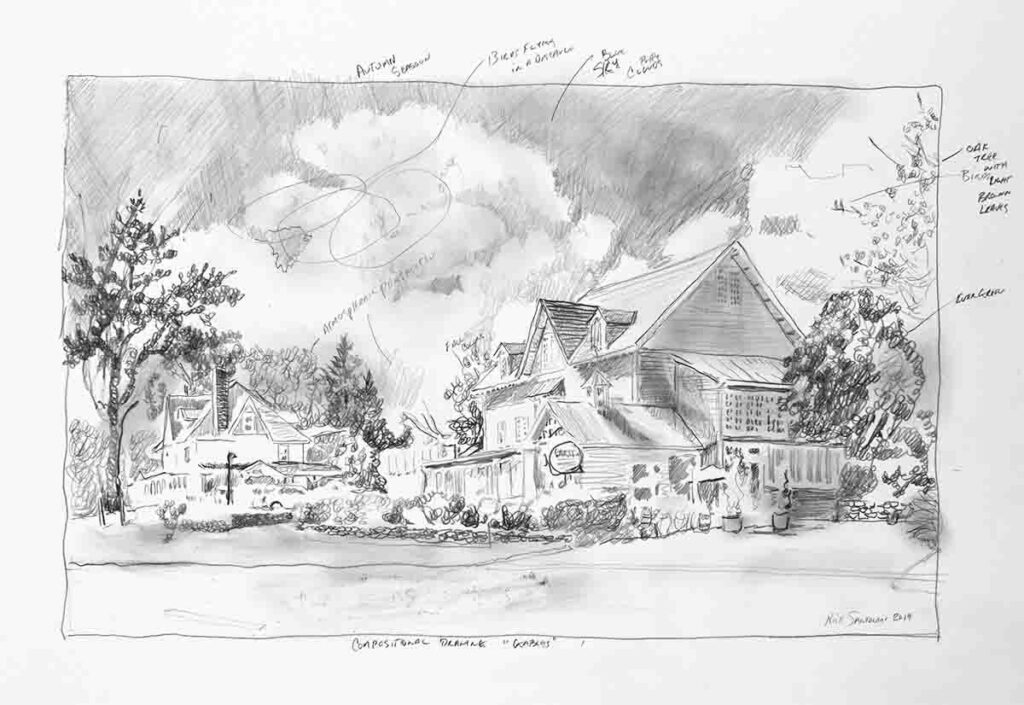 Compositional Drawing of The Gables at Chadds Ford