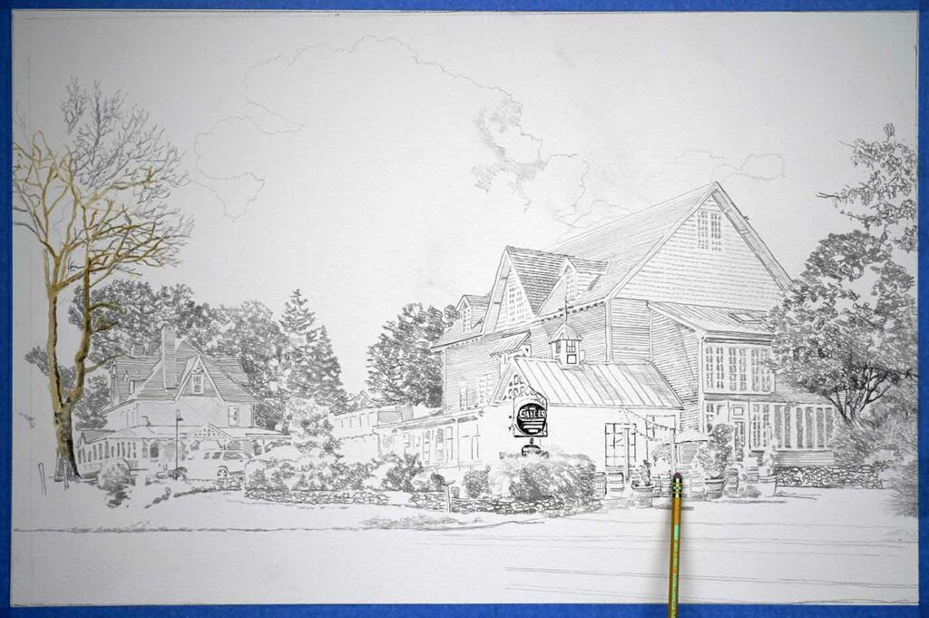Drawing out the composition on Arches watercolor paper