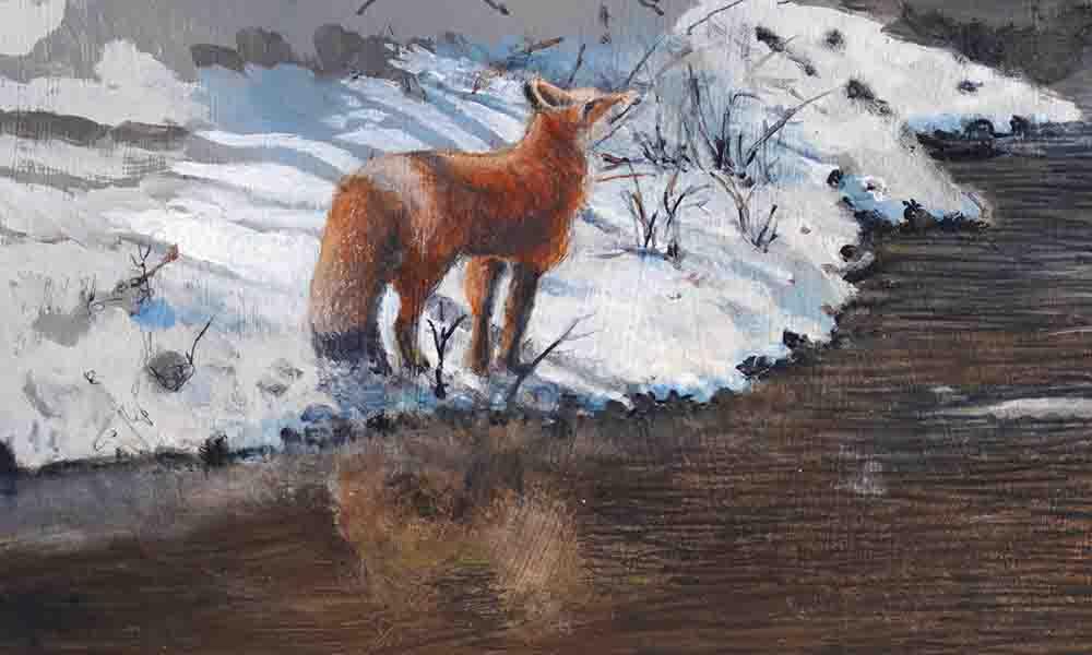 Bertram Bridge II (The Kissing Bridge) Paining in progress by Nicholas Santoleri detail of fox